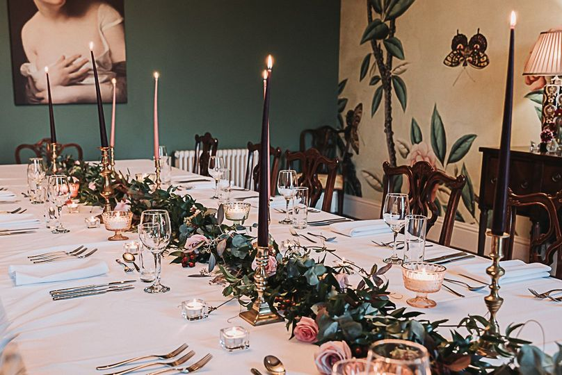 Candles and floral centrepiece
