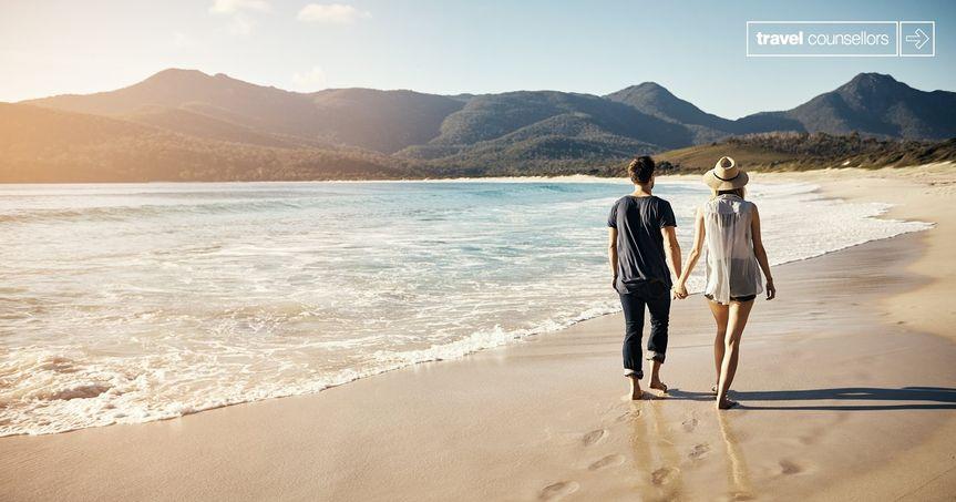 Romantic walks on the beach