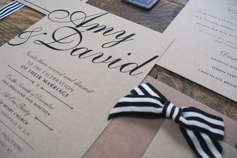 Kraft Card Wedding Stationery Suite for a Rustic Wedding.