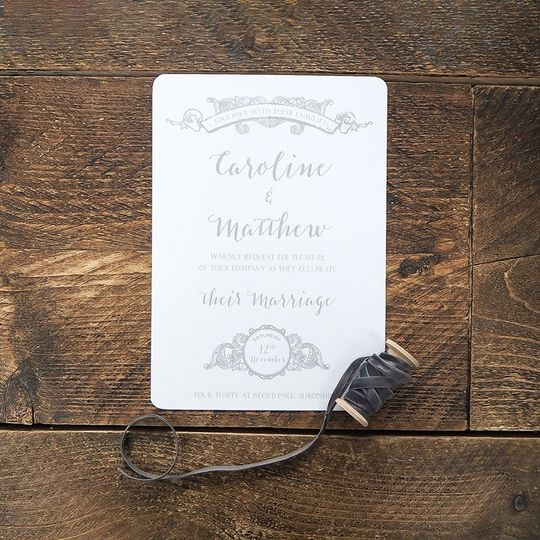 Pastel Grey Wedding Invitation Design