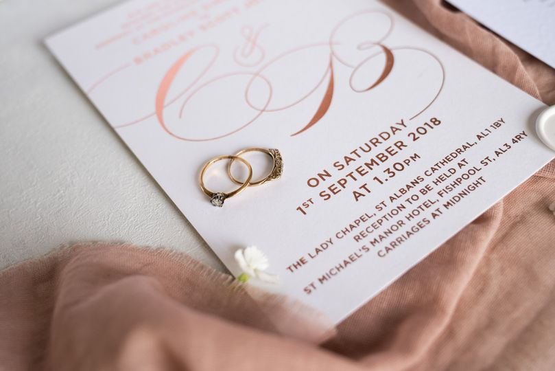 Gold Foiled Wedding Invitation