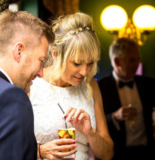 Bride & groom mingling