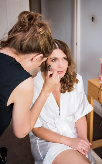 Bride in the makeup chair