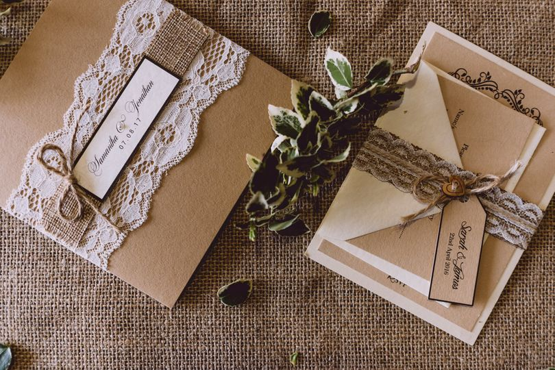 Rustic Hessian and Lace invite