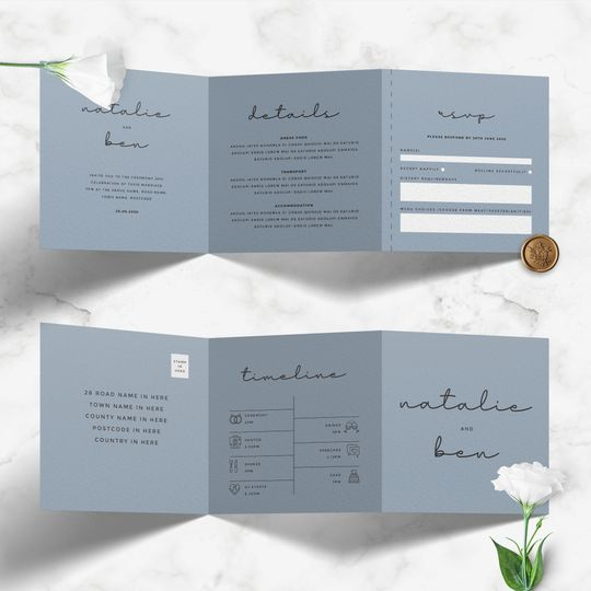 Classic Trifold Dusty Blue