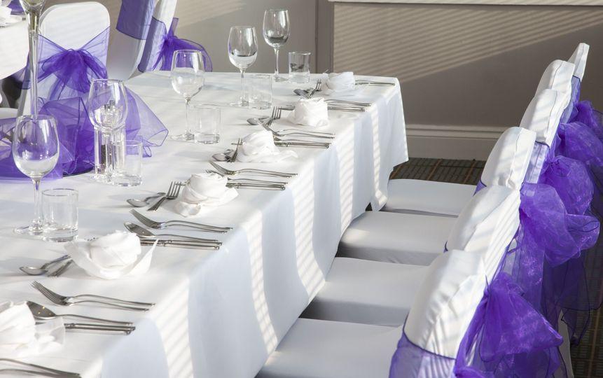 Purple chair sashes