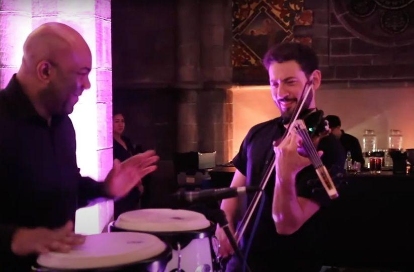 Bongos and electric violin