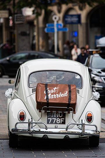 Just Married VW Beetle car
