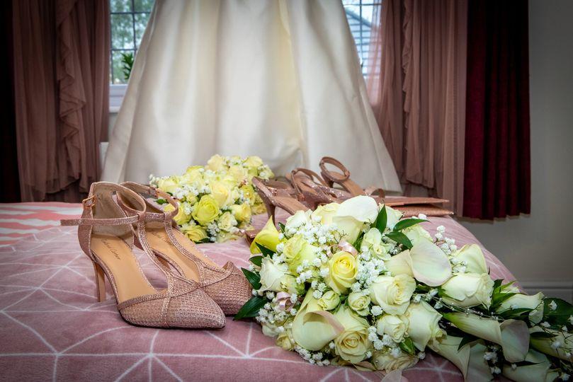Dress, flowers & shoes