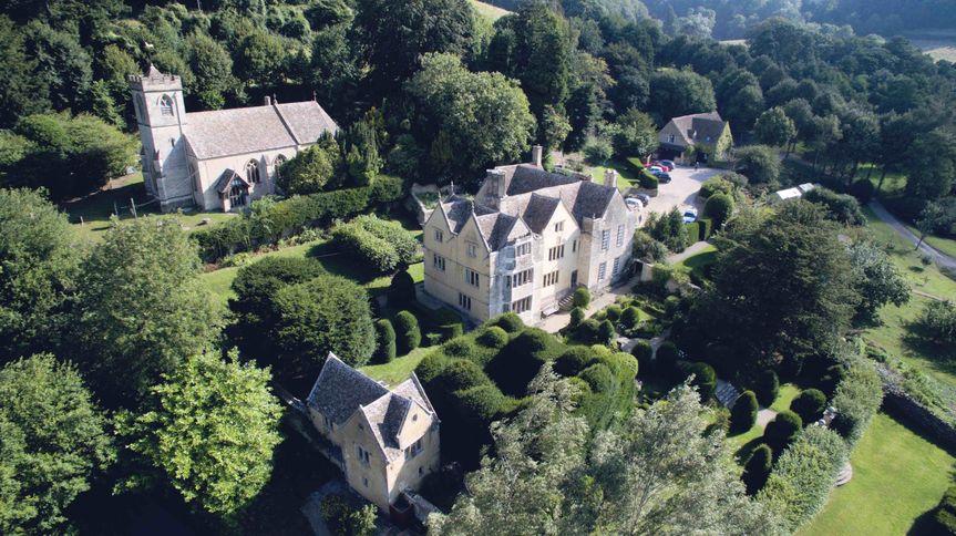 Owlpen Manor drone shot