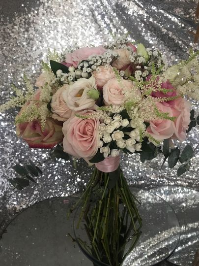 Blush bridal hand tied