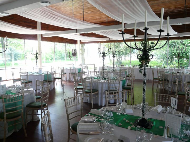 Drapery and candelabras