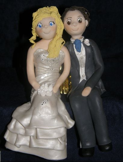 Polymer Clay bride and groom cake topper