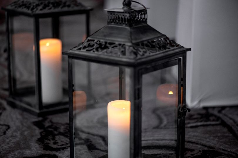 Lantern With Lit Candle