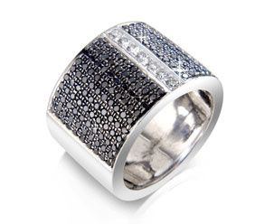 Black and white diamond wide band