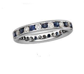 Blue saphire and diamond eternity ring
