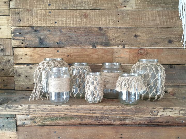 Twine-covered jars