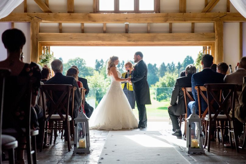 A ceremony inside the barn
