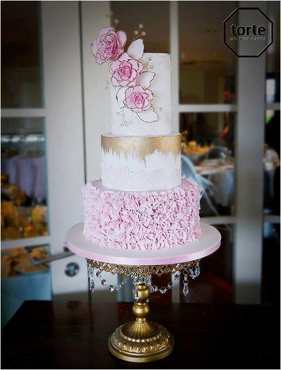 Blush peony wedding cake