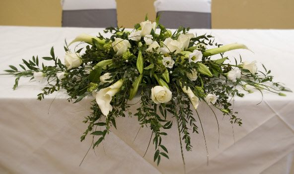 White top table flowers