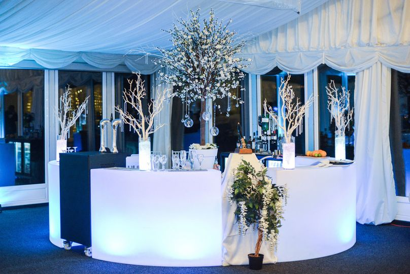 Bar within the wedding marquee