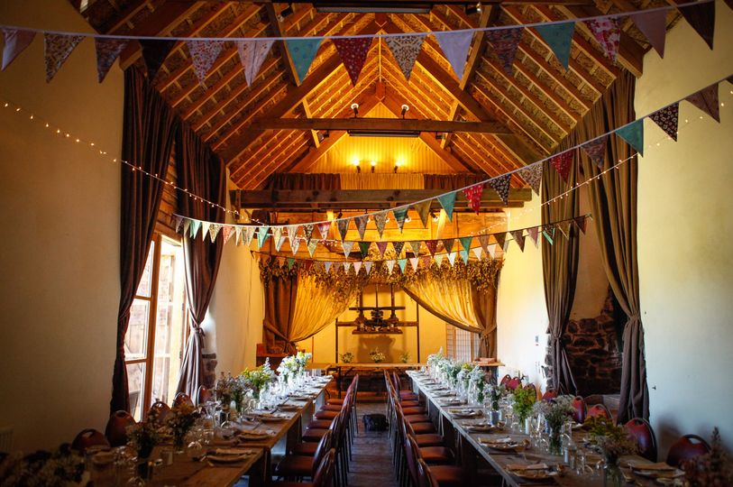 The cider barn set up for 40 guests dining
