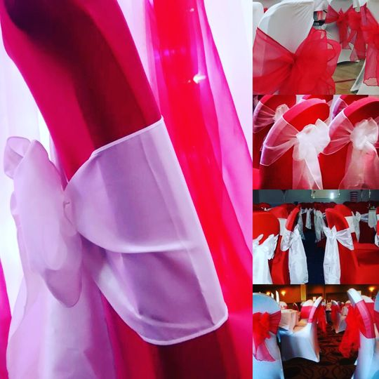 Red Lycra chair covers