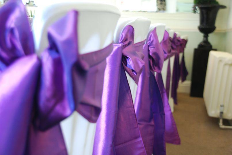 Purple satin wedding sashes