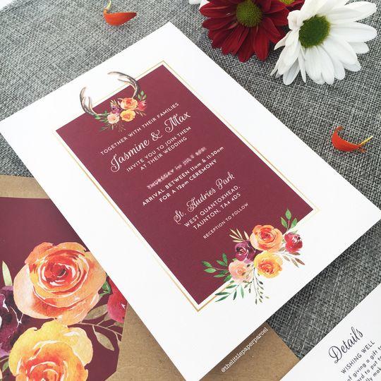 Burgundy & Orange Florals
