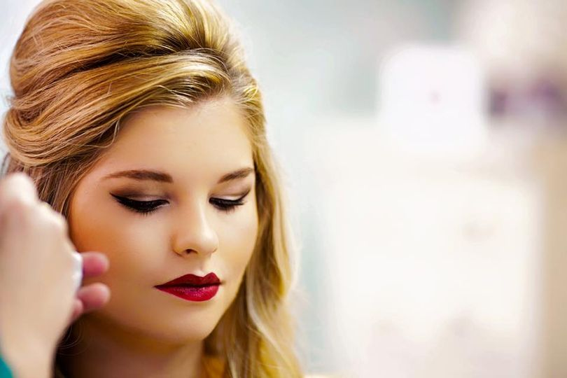 Bold red lipstick