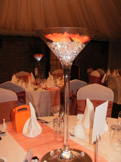 White covers/burnt orange sash