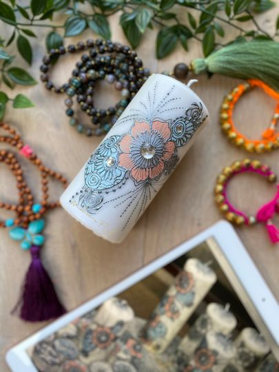 Henna personalised candle