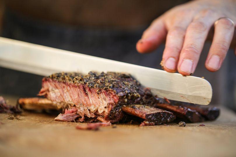 Oak-smoked meat
