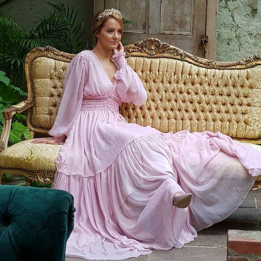 Silk chiffon tiered dress