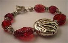 Raspberry Branch Disc Bracelet