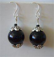 Black Glass Pearl Delicate Drop Earrings
