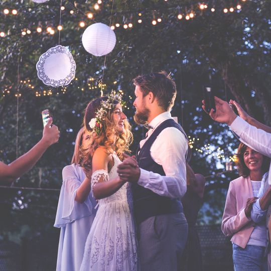 First dance at outdoor wedding