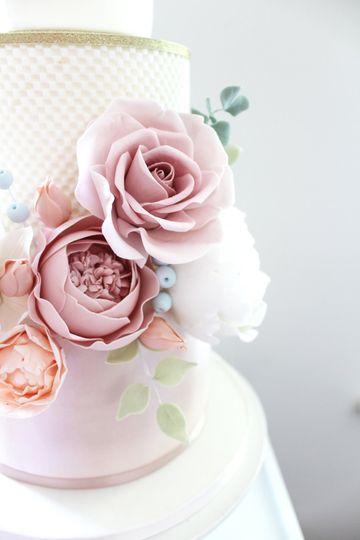 Close up of our handmade sugar flowers
