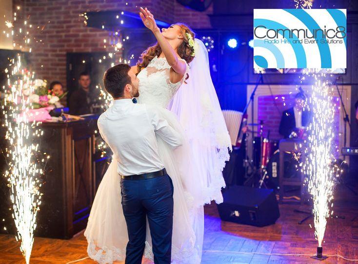 Wedding pyro and disco lights
