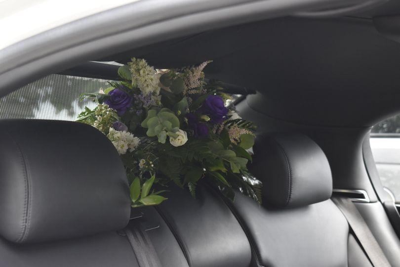 Flowers in rear seat