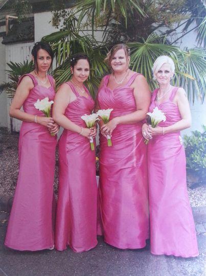 Pink taffeta bridesmaid dresse