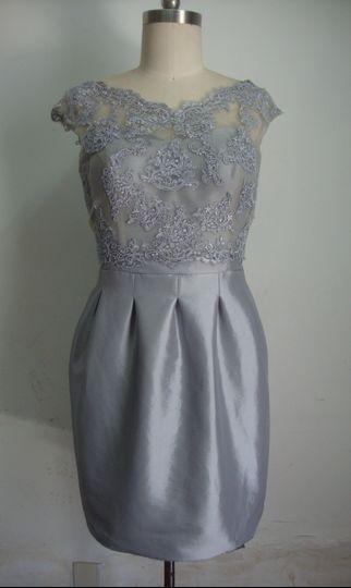 Silver grey bridesmaid dress