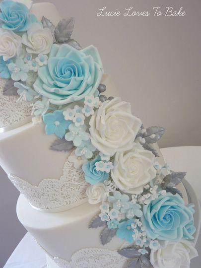 Blue Rose Cascade Wedding Cake