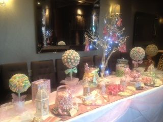 Wedding candy table in pastels
