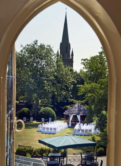 A view to the garden ceremony