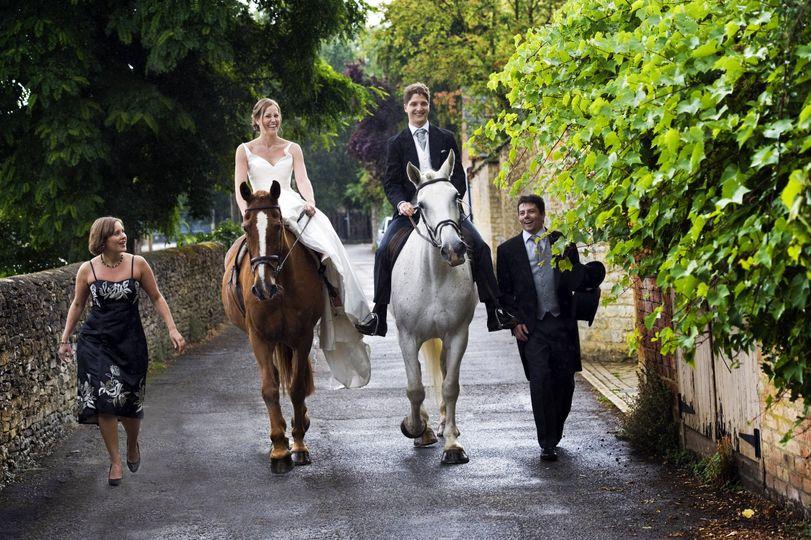 Arrive on horse back