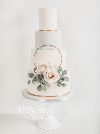 Copper peach rose sugar floral hoop wedding cake