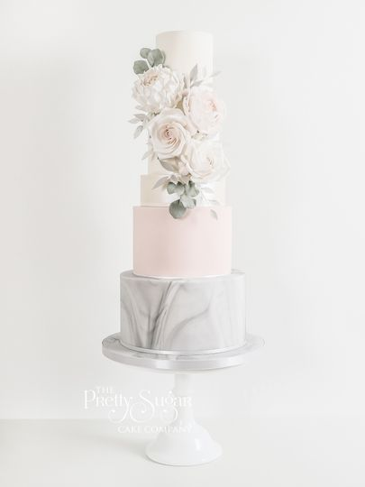 Grey and blush pink with cascading florals