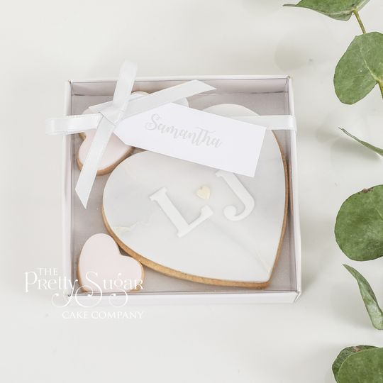 Grey marble heart cookie wedding favours