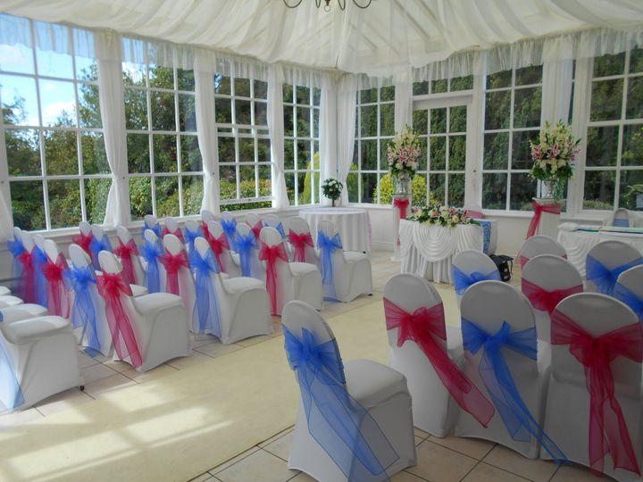 Wedding ceremony in conservatory